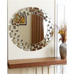 Abbyson Living Winzlee Glass and Wood Mirror in Silver