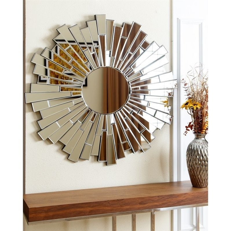 Abbyson Living Madison Glass and Wood Mirror in Silver