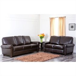 Abbyson Living London 2 Piece Leather Sofa Set in Dark Truffle