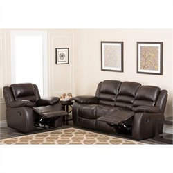 Abbyson Living Levari Italian Leather Sofa Sets in Dark Truffle