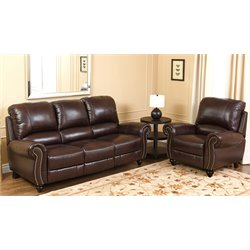 Abbyson Living Herzina 2 Piece Leather Sofa Set in Burgundy