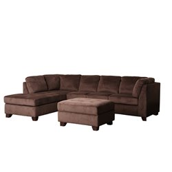 Abbyson Living Derlena Microsuede Sectional Sofa in Dark Truffle