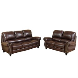 Abbyson Living Herzina Leather Pushback Reclining Sofa And Loveseat