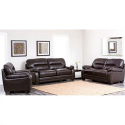 Abbyson Living Brenteena 3 Piece Leather Sofa Set in Dark Truffle