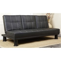 Abbyson Living Las Vegas Leather Convertible Sofa in Black