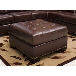 Abbyson Living Winston Square Leather Ottoman in Burgundy Brown
