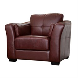 Abbyson Living Florentine Leather Club Arm Chair in Red
