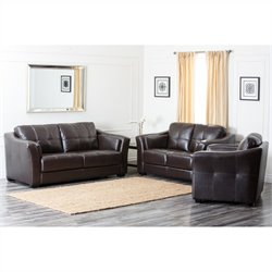 Abbyson Living Lincoln 3 Piece Top Grain Leather Sofa Set in Chocolate