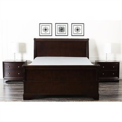 Abbyson Living Capriva Panel Bed in Dark Truffle