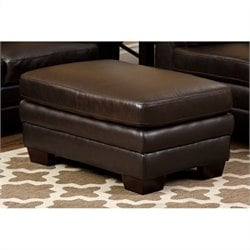 Abbyson Living Lalia Leather Ottoman in Dark Truffle