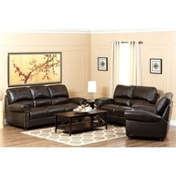 Abbyson Berneen 3 Piece Leather Sofa Set in Dark Truffle