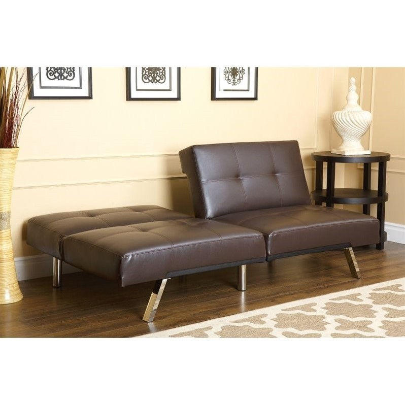 Abbyson Living Jakarta Leather Convertible Sofa In Brown Ad Pab 161n5s Brn