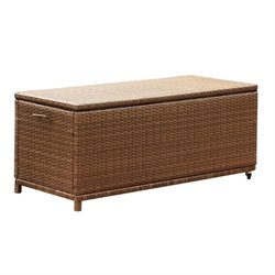 Abbyson Living Palermo Outdoor Wicker Storage Ottoman in Brown