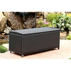 Abbyson Living Pasadena Outdoor Wicker Storage Ottoman in Black