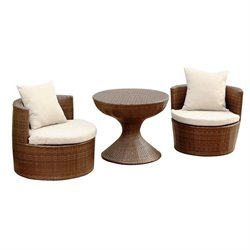 Abbyson Living Palermo Outdoor Wicker 3 Piece Chair Set in Brown