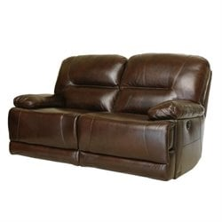 Abbyson Living Rio Reclining Hand Rubbed Leather Loveseat in Brown