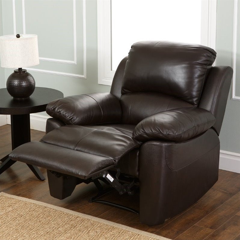 abbyson living bella 3 piece leather reclining sofa set in espresso