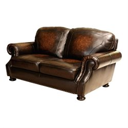 Abbyson Living Tannington Leather Loveseat in Brown