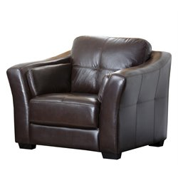 Abbyson Living Lincoln Premium Leather Armchair in Brown