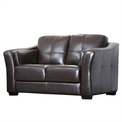 Abbyson Living Lincoln Premium Leather Loveseat in Brown