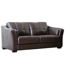 Abbyson Living Lincoln Premium Leather Sofa in Brown