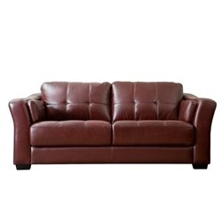 Abbyson Living Florentine Leather Sofa in Burgundy