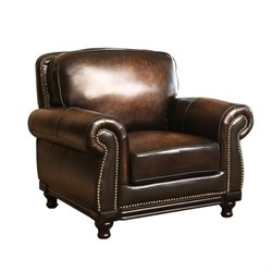 Abbyson Living Barclay Leather Arm Chair in Espresso