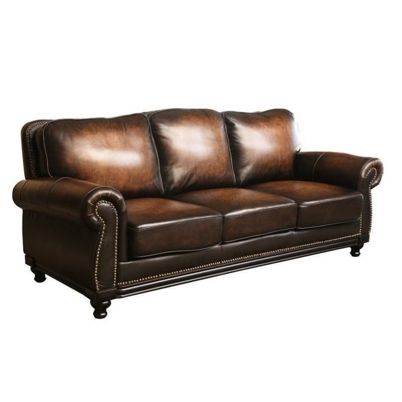 Abbyson living barclay leather sofa in espresso ci n180 for Abbyson living sedona leather chaise recliner