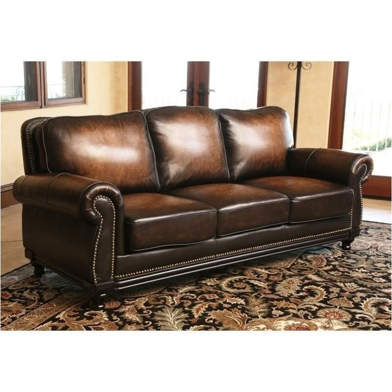 Abbyson Living Barclay Leather Sofa In Espresso Ci N180