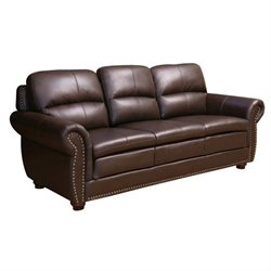 Abbyson Living Harrison Leather Sofa in Brown