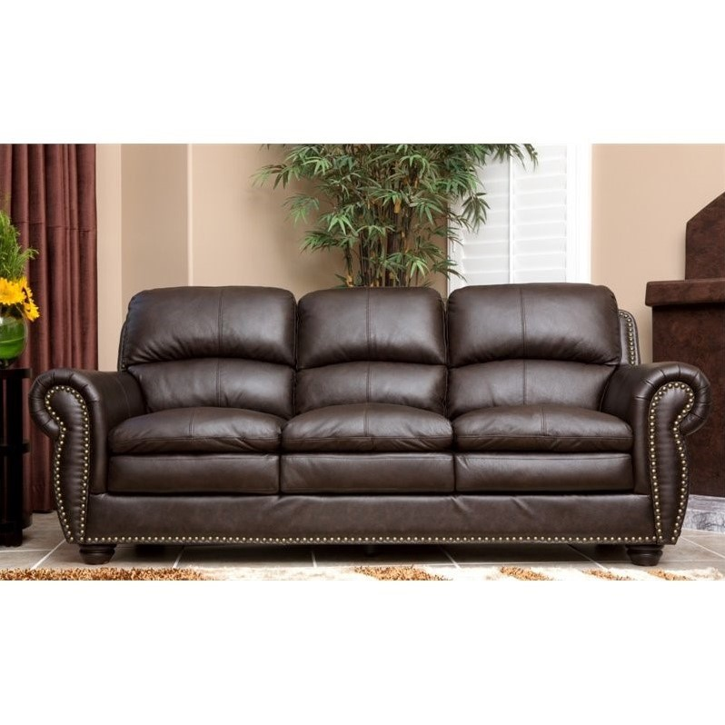 Abbyson Living Harrison 4 Piece Leather Sofa Set In Brown Jc 2300 Brn 3 2 1 4