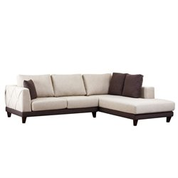 Abbyson Living Juliette Fabric Sectional Sofa in Cream