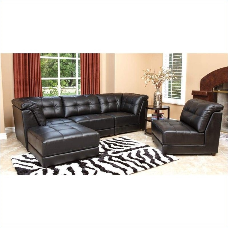 Abbyson living donovan 5 piece modular leather sectional for 5 piece living room furniture