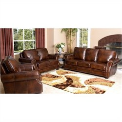 Abbyson Karington 3 Piece Leather Sofa Set in Brown