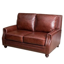 Abbyson Living Bel Air Leather Loveseat in Brown
