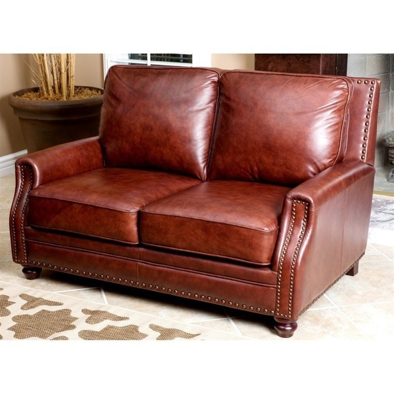 Abbyson Living Bel Air 3 Piece Leather Sofa Set In Brown Sk 8040 Cst 3 2 1