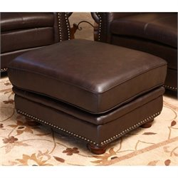 Abbyson Living Leather Ottoman in Brown