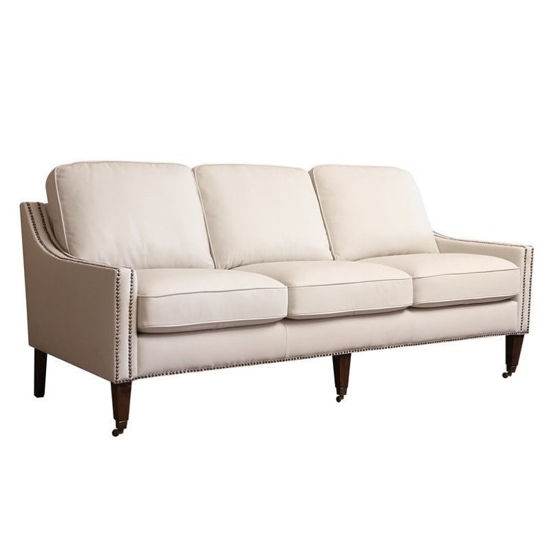 Abbyson living monica pedersen faux leather sofa in ivory for Faux leather living room furniture