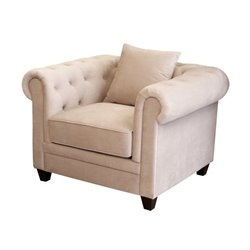 Abbyson Living Morgan Velvet Tufted Arm Chair in Beige