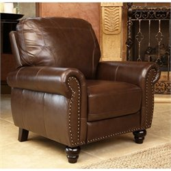 Abbyson Living Elm Leather Recliner in Brown