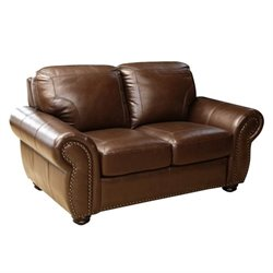 Abbyson Living Elm Leather Loveseat in Brown