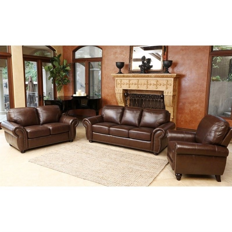 Abbyson living luca 3 piece leather sofa set in brown sk for 3 piece brown leather sectional sofa