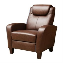 Abbyson Living Bryn Leather Pushback Recliner in Brown