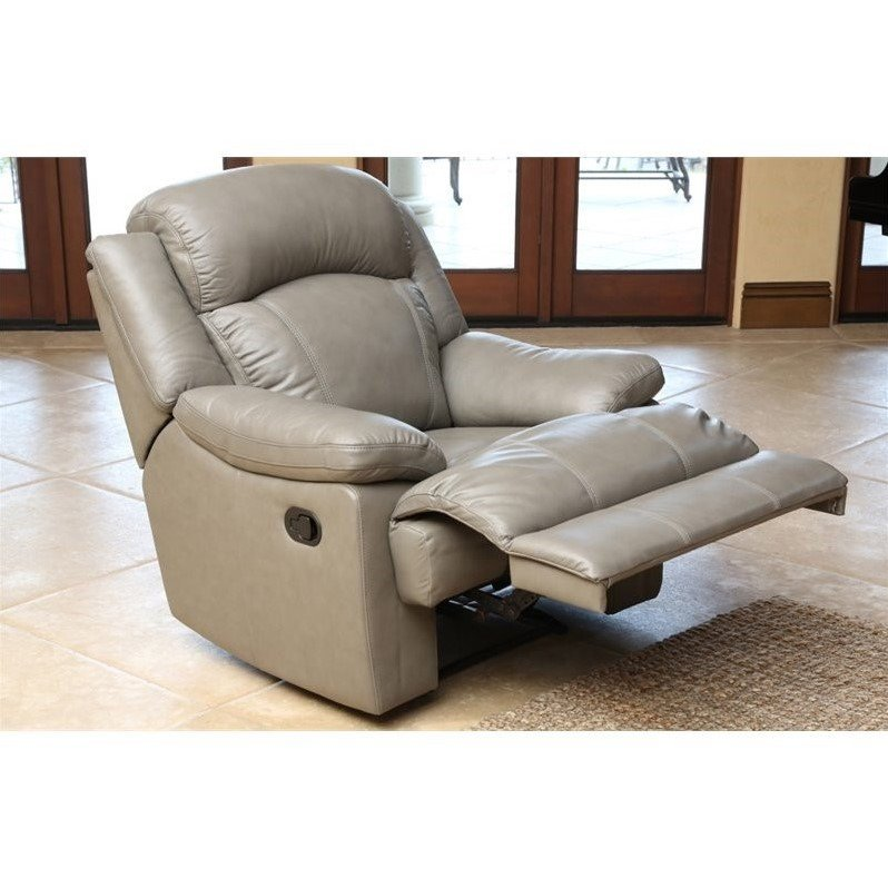 Abbyson living warwick leather recliner in grey cx 6118 for Abbyson living sedona leather chaise recliner
