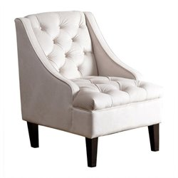 Abbyson Living Amelia Velvet Arm Chair in Cream