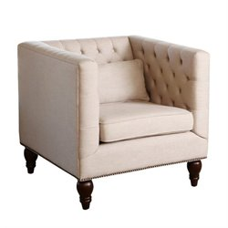 Abbyson Living Montclair Linen Tufted Accent Chair in Beige
