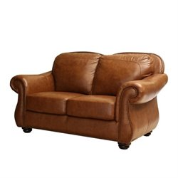Abbyson Living Erickson Leather Loveseat in Camel Brown