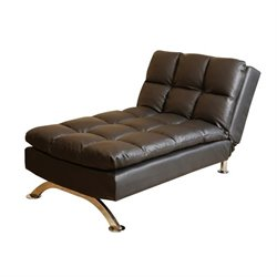 Abbyson Living Reedley Leather Euro Lounger in Black