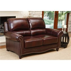 Abbyson Living Terbella Leather Loveseat in Dark Burgundy