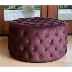 Abbyson Living Jemma Tufted Round Velvet Ottoman in Purple